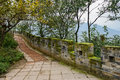 Stone pavement along ancient parapet in cloudy winter afternoon paved footway brick dujiangyan china Stock Images