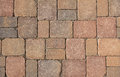 Stone pavement, background of red granite blocks Royalty Free Stock Photo