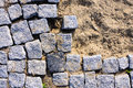 Stone pavement construction site Royalty Free Stock Photo