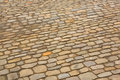 Stone pavement the old in the street Royalty Free Stock Photo