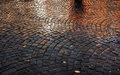 Stone pavement after the rain Royalty Free Stock Photo