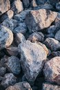 Stone pile with sunshade Royalty Free Stock Photo