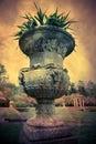 Stone planter antique garden with artistic vintage texture effect Stock Photos