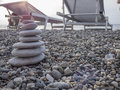 Stone pyramid on beach