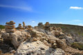Stone pyramids on a hill. Greece.Landscape Stock Images