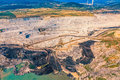 Stone quarry aerial helicopter shoot of the on the sunny summer morning Royalty Free Stock Photos