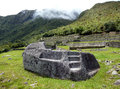 Stone for rituals and sacrifices in machu picchu ancient Stock Image