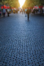 Stone road and morning shadows at chinese traditional festival Royalty Free Stock Photography