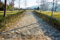 Stone road to the complex Rupite, Bulgaria Royalty Free Stock Photo