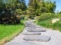 Stone s way in the japanese garden in sunny day Stock Images
