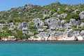 Stone sarcophaguses in Kekova, Royalty Free Stock Images