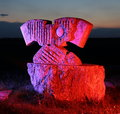 Stone Sculpture In Colored Light