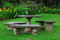 Stone seat garden and table Stock Image