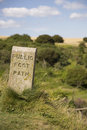 Stone Sign Marking Footpath Stock Images