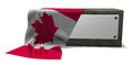 Stone socket with blank sign and flag of canada