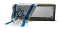 Stone socket and flag of israel