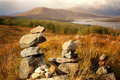 Stone stacks in the highlands scottish overlooking ardochy forest towards loch garry scotland uk Stock Image