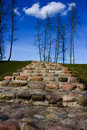 Stone staircase, blue sky Royalty Free Stock Photo