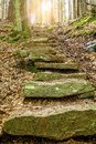 Stone staircase leading up with sunlight a walkway through the doubrava valley czech republic sun light at Royalty Free Stock Image