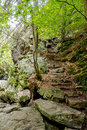 Stone staircase leading up a walkway through the doubrava valley czech republic Stock Image