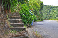 Stone staircase from the road Royalty Free Stock Photo
