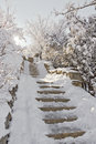 Stone staircase in the snow. Royalty Free Stock Photo