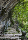 Stone stairs in grotto in georgia Stock Photo