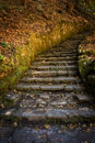 Stone stairs the at the start of the gorge trail to filmore glen state park in new york s finger lakes region near morovia they Royalty Free Stock Images