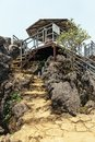 Stone stairway lead to observation deck in the area of Sam Bay Cloud Yard at Ham Rong Mountain Park in Sa Pa, Vietnam Royalty Free Stock Photo