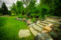 Stone stairway on a lush green garden path the natural steps of feature climb small hill in summer rock Royalty Free Stock Images