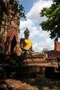 Stone statue of Buddha  in  Wat Prha Mahathat Stock Image