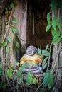 Stone Statue of Katyayana or Phra Sangkajai on Window Katyayana was a disciple of Gautama Buddha at Wat Bang Kung - Samut Royalty Free Stock Photo
