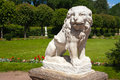 Stone statue of a lion in kuskovo park moscow russia Stock Photography