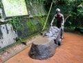 Stone statues at jiufen village in taipei taiwan Stock Photos