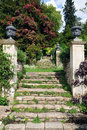 Stone Steps in a Formal Garden Stock Photos