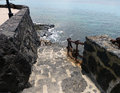 Stone steps leading to sea old staircase the lanzarote Stock Images