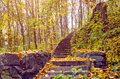 Stone steps strewn with yellow autumn leaves Royalty Free Stock Photo