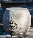 The stone stool carved with dragon forbidden city beijing Royalty Free Stock Image