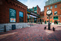 Stone streets and buildings in the Distillery Historic District, In Toronto, Ontario. Royalty Free Stock Photo