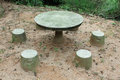 Stone Table and chairs in Coloane Park Royalty Free Stock Photo