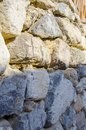 Stone texture, close-up of yellow stone wall