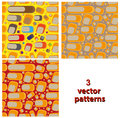 Set of geometric cubist patterns, tiles in different color variants, orange, blue, yellow, purple, green