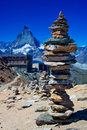 Stone tower big hand made in alps Royalty Free Stock Images