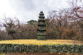 Stone tower in jeju stone park Royalty Free Stock Photo