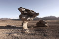 Stone tree famous in bolivian desert which is very similar to Royalty Free Stock Images
