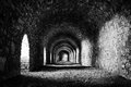Stone tunnel black and white colors Royalty Free Stock Images