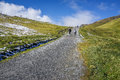 Stone walk way to alp mountain with people hiking, green grass a Royalty Free Stock Photo