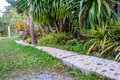 Stone walkway in the garden Royalty Free Stock Photo