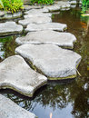 Stone walkway on water in the park or garden Royalty Free Stock Images