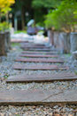 Stone walkway winding in garden Royalty Free Stock Photo